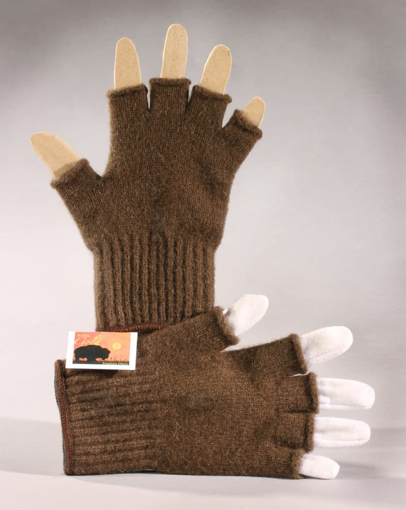 Bison Wool Fingerless Gloves