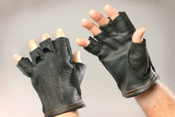 Buffalo Leather Fingerless Gloves