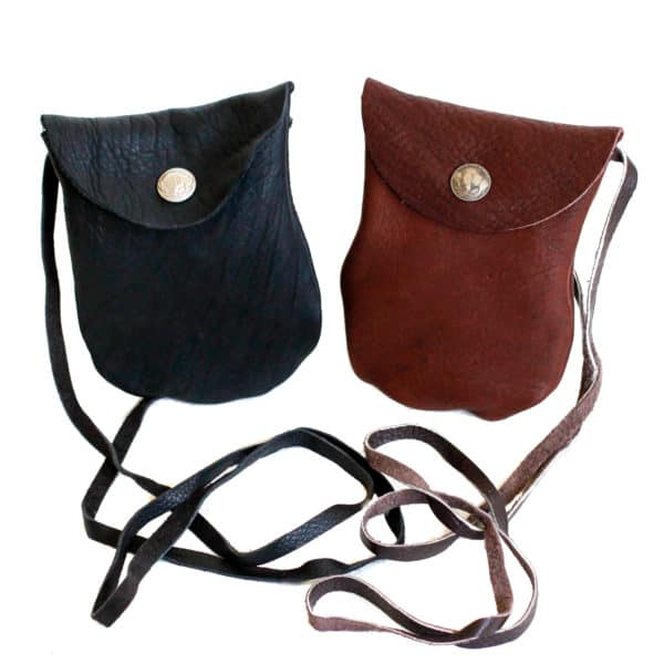 Black and Brown Buffalo Leather Snap Bag