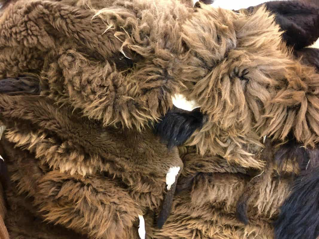 Brown buffalo wool and fur. Soft and plush.