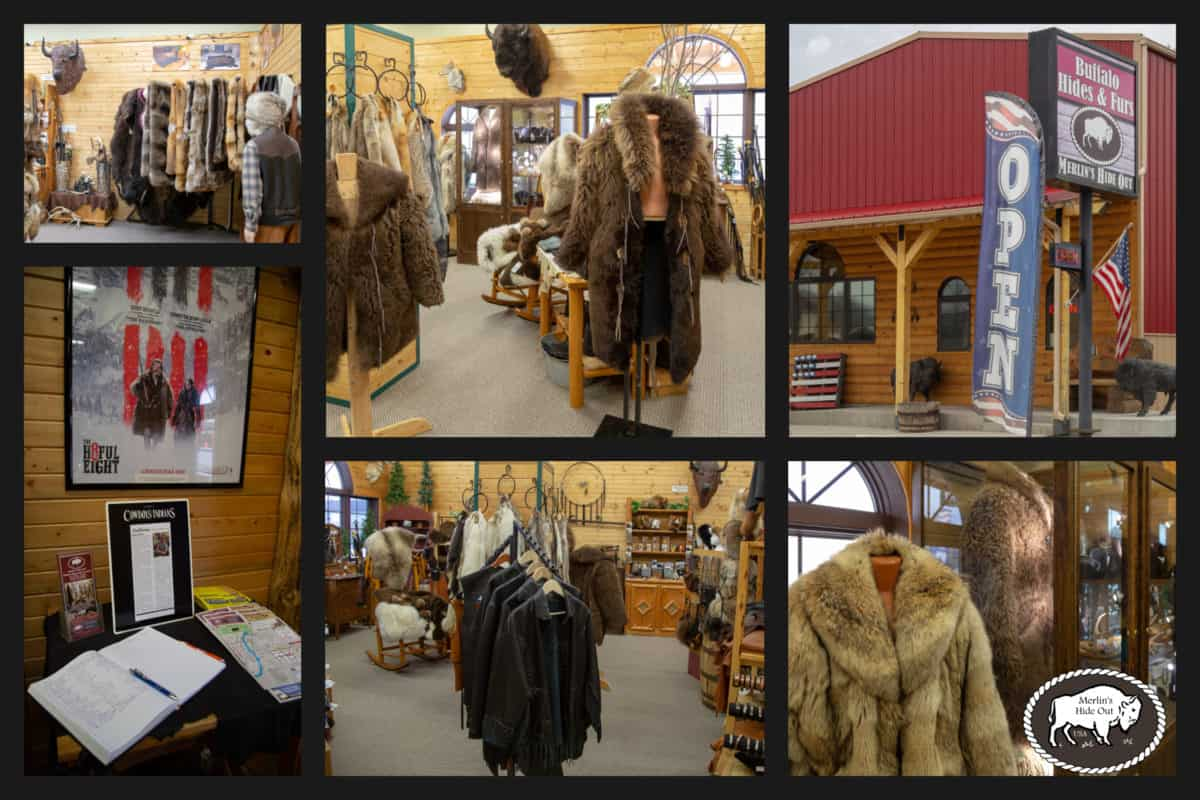 Collage of images showing the Merlin's Hide Out showroom. Fur coats, hats, rugs, and more.