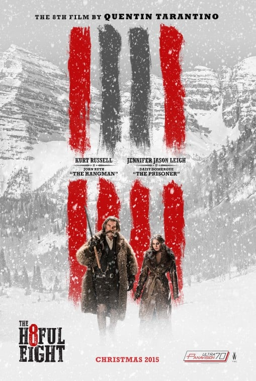 The Hateful Eight promotional movie poster showing Kurt Russell wearing a buffalo fur coat made by Merlin's Hide Out.