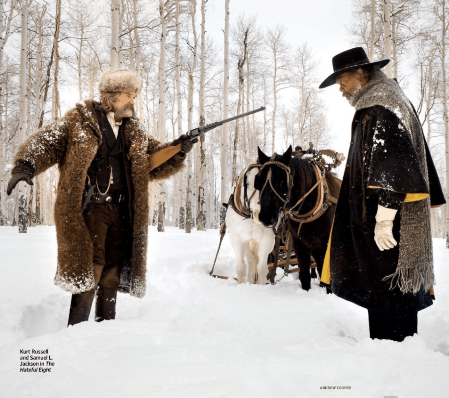 "Kurt Russell wearing ""The Big Boy"" coat made by Merlin's Hide Out in The Hateful Eight."