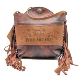 """Cowhide and Bison Leather Purse – """"Wild And Free"""""""